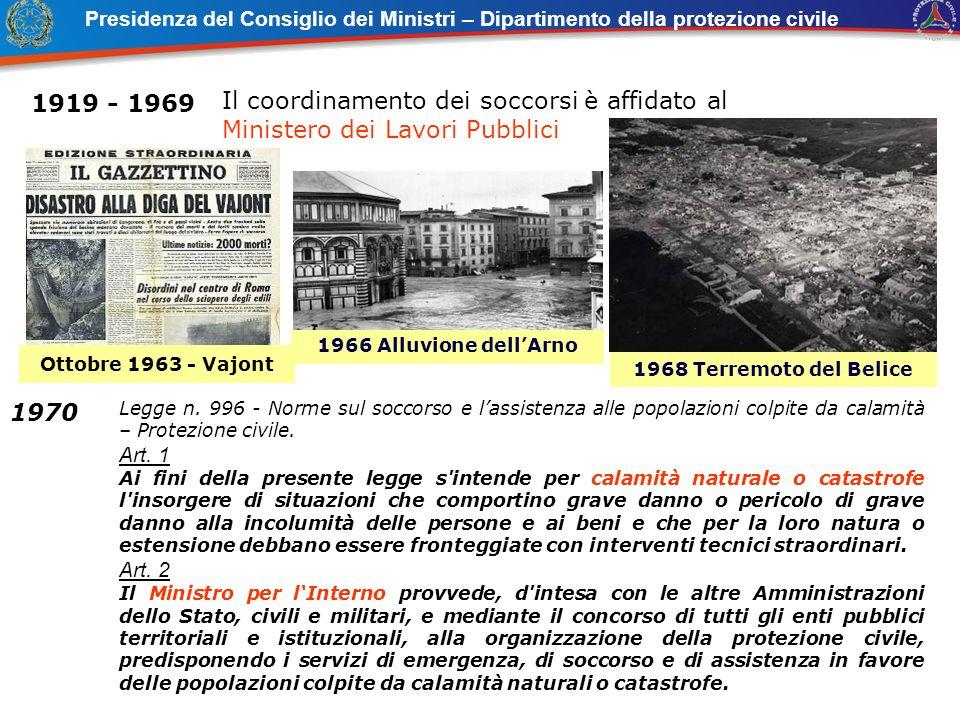 1919 - 1969 Il coordinamento dei soccorsi è affidato al Ministero dei Lavori Pubblici 1966 Alluvione dellArno Legge n. 996 - Norme sul soccorso e lass