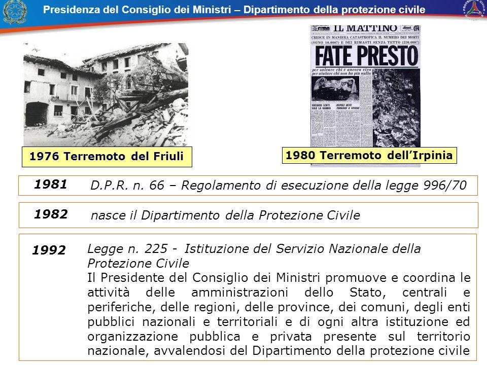 nasce il Dipartimento della Protezione Civile 1982 Legge n. 225 - Istituzione del Servizio Nazionale della Protezione Civile Il Presidente del Consigl