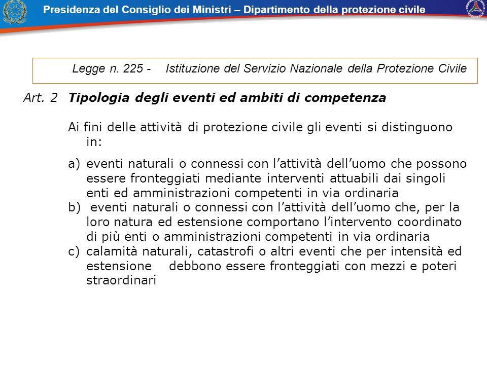 Presidenza del Consiglio dei Ministri – Dipartimento della protezione civile Legge n. 225 - Istituzione del Servizio Nazionale della Protezione Civile