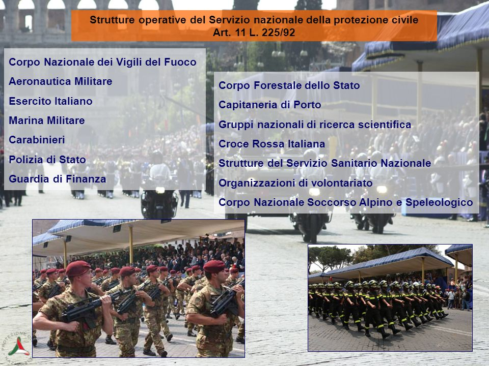 Strutture operative del Servizio nazionale della protezione civile Art. 11 L. 225/92 Corpo Nazionale dei Vigili del Fuoco Aeronautica Militare Esercit
