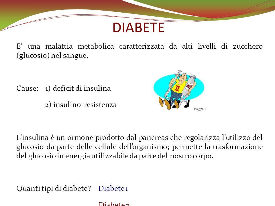 DIABETE E una malattia metabolica caratterizzata da alti livelli di zucchero (glucosio) nel sangue. Cause: 1) deficit di insulina 2) insulino-resisten