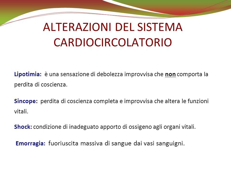 LIPOTIMIA È una riduzione dellirrorazione cerebrale dovuta ad un abbassamento improvviso della pressione arteriosa.