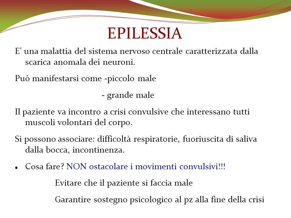 EPILESSIA E' una malattia del sistema nervoso centrale caratterizzata dalla scarica anomala dei neuroni. Può manifestarsi come -piccolo male - grande