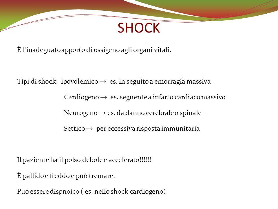 SHOCK È linadeguato apporto di ossigeno agli organi vitali. Tipi di shock: ipovolemico es. in seguito a emorragia massiva Cardiogeno es. seguente a in