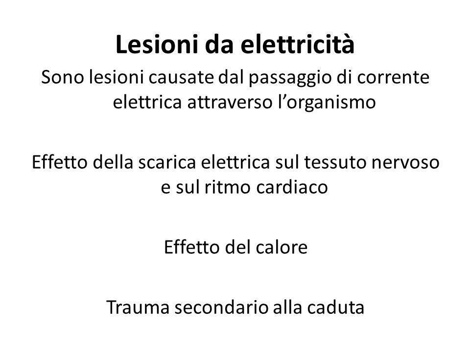Sono lesioni causate dal passaggio di corrente elettrica attraverso lorganismo Effetto della scarica elettrica sul tessuto nervoso e sul ritmo cardiac