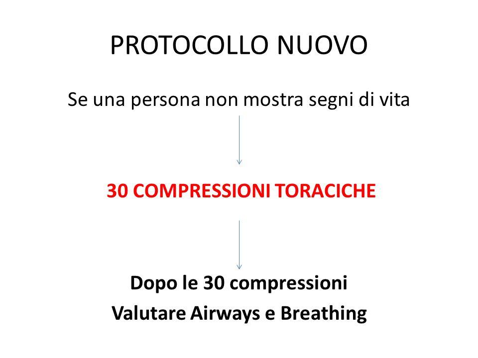 PROTOCOLLO NUOVO Se una persona non mostra segni di vita 30 COMPRESSIONI TORACICHE Dopo le 30 compressioni Valutare Airways e Breathing