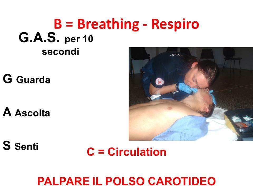 B = Breathing - Respiro G.A.S. per 10 secondi G Guarda A Ascolta S Senti C = Circulation PALPARE IL POLSO CAROTIDEO