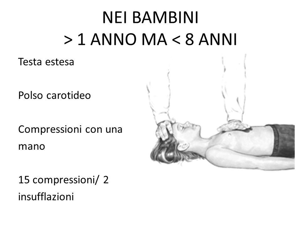NEI BAMBINI > 1 ANNO MA < 8 ANNI Testa estesa Polso carotideo Compressioni con una mano 15 compressioni/ 2 insufflazioni