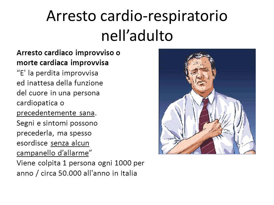Cause di arresto cardiaco improvviso Malattie cardiache (aritmie, infarto miocardico acuto..) Embolia polmonare Pneumotorace Ostruzione respiratoria Trauma precordiale Emorragia / ipovolemia Trauma cranico
