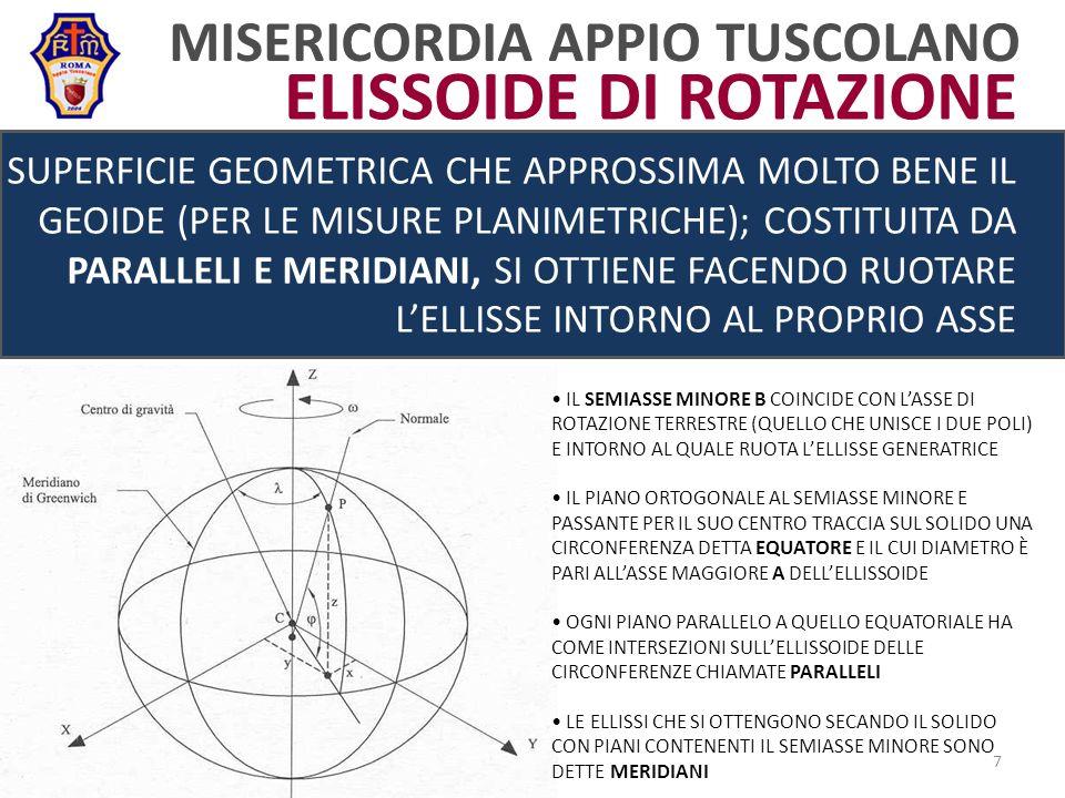 MISERICORDIA APPIO TUSCOLANO SUPERFICIE GEOMETRICA CHE APPROSSIMA MOLTO BENE IL GEOIDE (PER LE MISURE PLANIMETRICHE); COSTITUITA DA PARALLELI E MERIDIANI, SI OTTIENE FACENDO RUOTARE LELLISSE INTORNO AL PROPRIO ASSE IL SEMIASSE MINORE B COINCIDE CON LASSE DI ROTAZIONE TERRESTRE (QUELLO CHE UNISCE I DUE POLI) E INTORNO AL QUALE RUOTA LELLISSE GENERATRICE IL PIANO ORTOGONALE AL SEMIASSE MINORE E PASSANTE PER IL SUO CENTRO TRACCIA SUL SOLIDO UNA CIRCONFERENZA DETTA EQUATORE E IL CUI DIAMETRO È PARI ALLASSE MAGGIORE A DELLELLISSOIDE OGNI PIANO PARALLELO A QUELLO EQUATORIALE HA COME INTERSEZIONI SULLELLISSOIDE DELLE CIRCONFERENZE CHIAMATE PARALLELI LE ELLISSI CHE SI OTTENGONO SECANDO IL SOLIDO CON PIANI CONTENENTI IL SEMIASSE MINORE SONO DETTE MERIDIANI 7 ELISSOIDE DI ROTAZIONE
