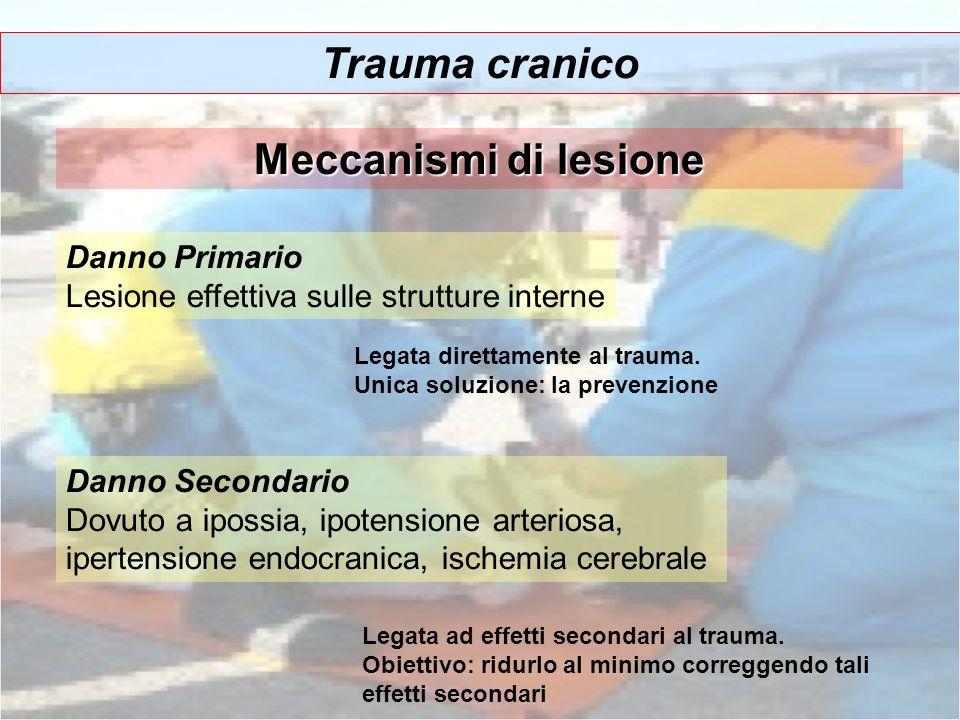 Trauma cranico Meccanismi di lesione Danno Primario Lesione effettiva sulle strutture interne Danno Secondario Dovuto a ipossia, ipotensione arteriosa