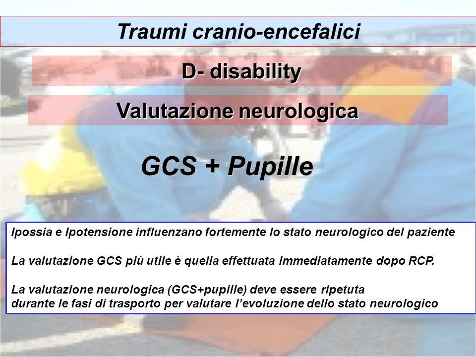 Traumi cranio-encefalici Valutazione neurologica GCS + Pupille Ipossia e Ipotensione influenzano fortemente lo stato neurologico del paziente La valut