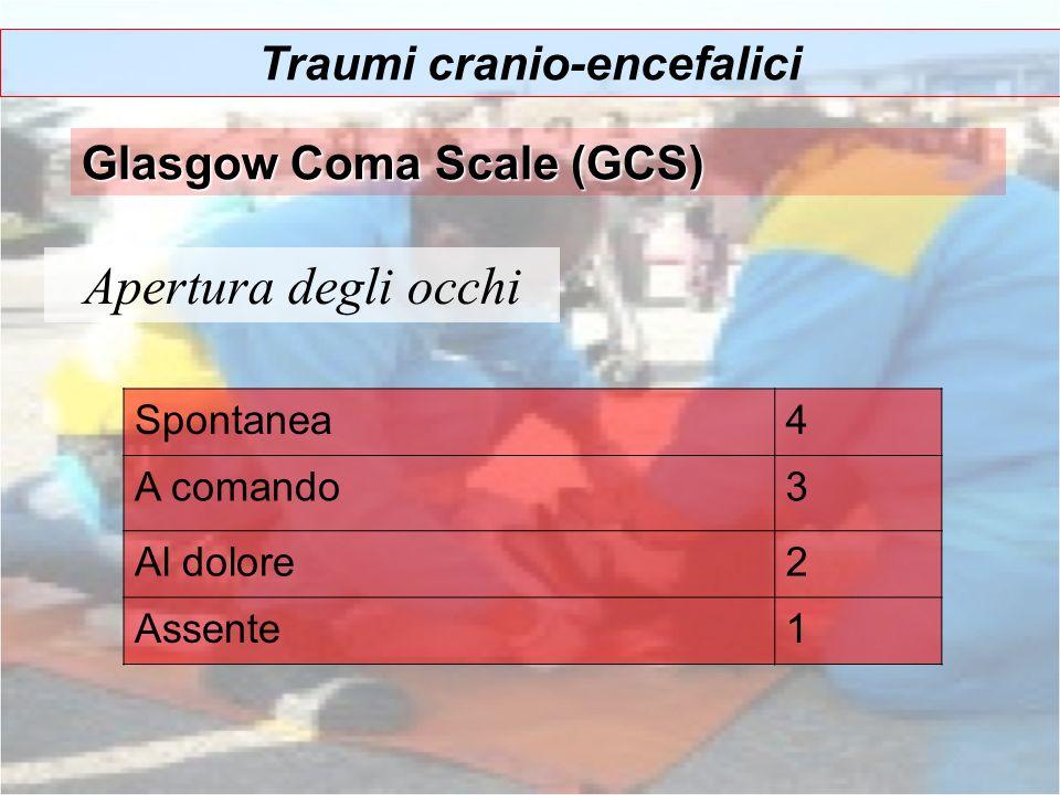 Apertura degli occhi Traumi cranio-encefalici Glasgow Coma Scale (GCS) Spontanea4 A comando3 Al dolore2 Assente1