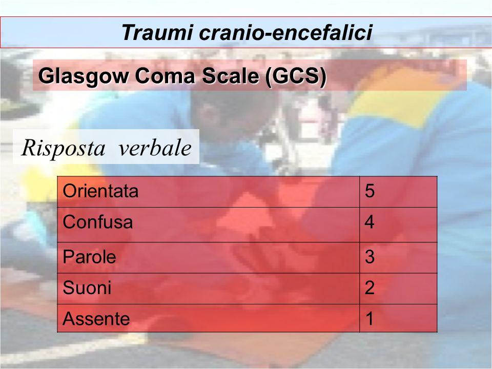 Risposta verbale Traumi cranio-encefalici Glasgow Coma Scale (GCS) Orientata5 Confusa4 Parole3 Suoni2 Assente1