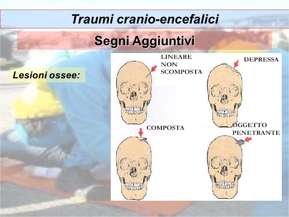 Traumi cranio-encefalici Segni Aggiuntivi Lesioni ossee: