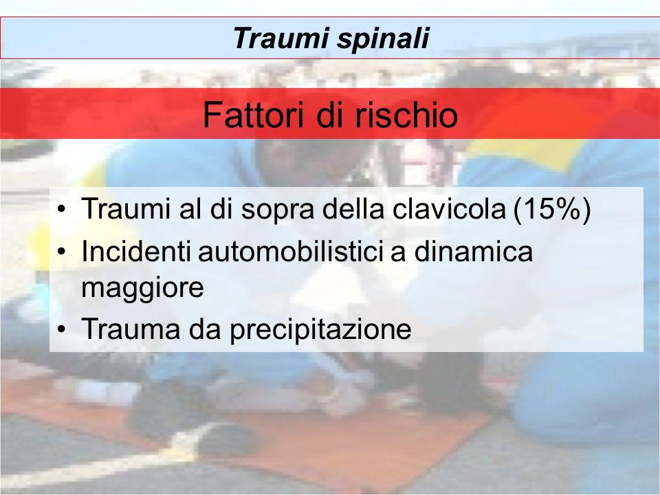 Traumi spinali Fattori di rischio Traumi al di sopra della clavicola (15%) Incidenti automobilistici a dinamica maggiore Trauma da precipitazione