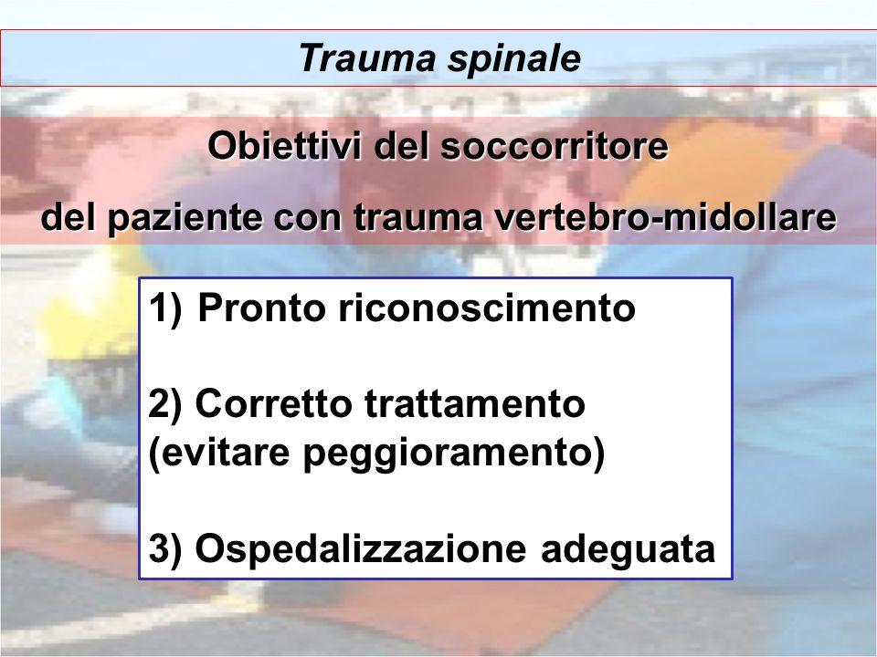 Trauma spinale Obiettivi del soccorritore del paziente con trauma vertebro-midollare 1)Pronto riconoscimento 2) Corretto trattamento (evitare peggiora