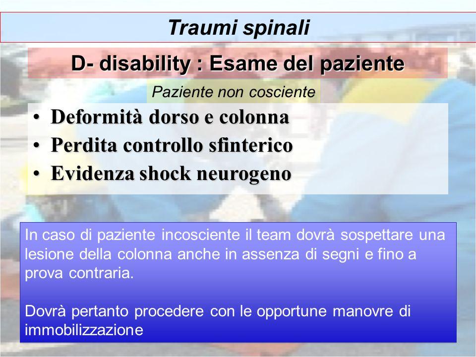 Deformità dorso e colonnaDeformità dorso e colonna Perdita controllo sfintericoPerdita controllo sfinterico Evidenza shock neurogenoEvidenza shock neu