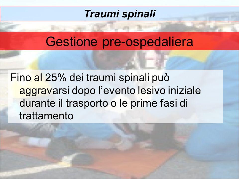 Gestione pre-ospedaliera Traumi spinali Fino al 25% dei traumi spinali può aggravarsi dopo levento lesivo iniziale durante il trasporto o le prime fas