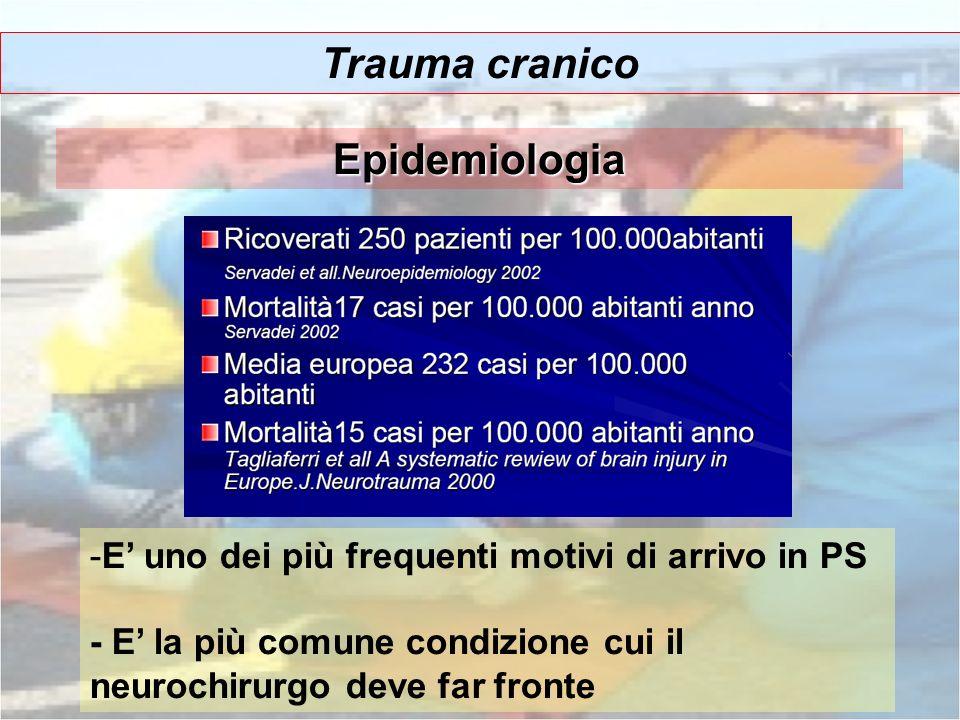 Trauma cranico -E uno dei più frequenti motivi di arrivo in PS - E la più comune condizione cui il neurochirurgo deve far fronte Epidemiologia