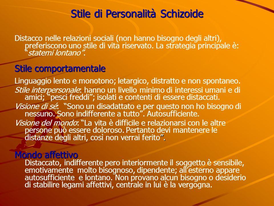 Stile di Personalità Schizoide Distacco nelle relazioni sociali (non hanno bisogno degli altri), preferiscono uno stile di vita riservato. La strategi