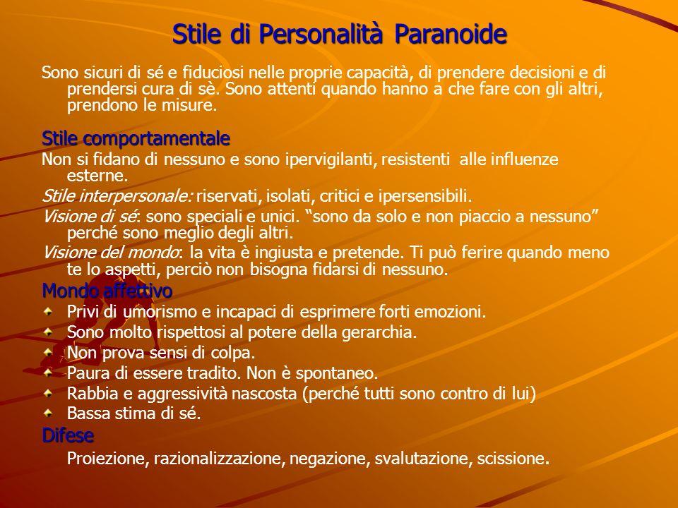 Stile di Personalità Paranoide Sono sicuri di sé e fiduciosi nelle proprie capacità, di prendere decisioni e di prendersi cura di sè. Sono attenti qua