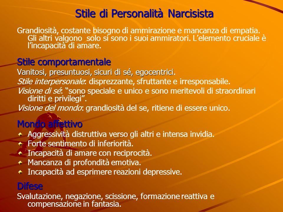 Stile di Personalità Narcisista Grandiosità, costante bisogno di ammirazione e mancanza di empatia. Gli altri valgono solo si sono i suoi ammiratori.