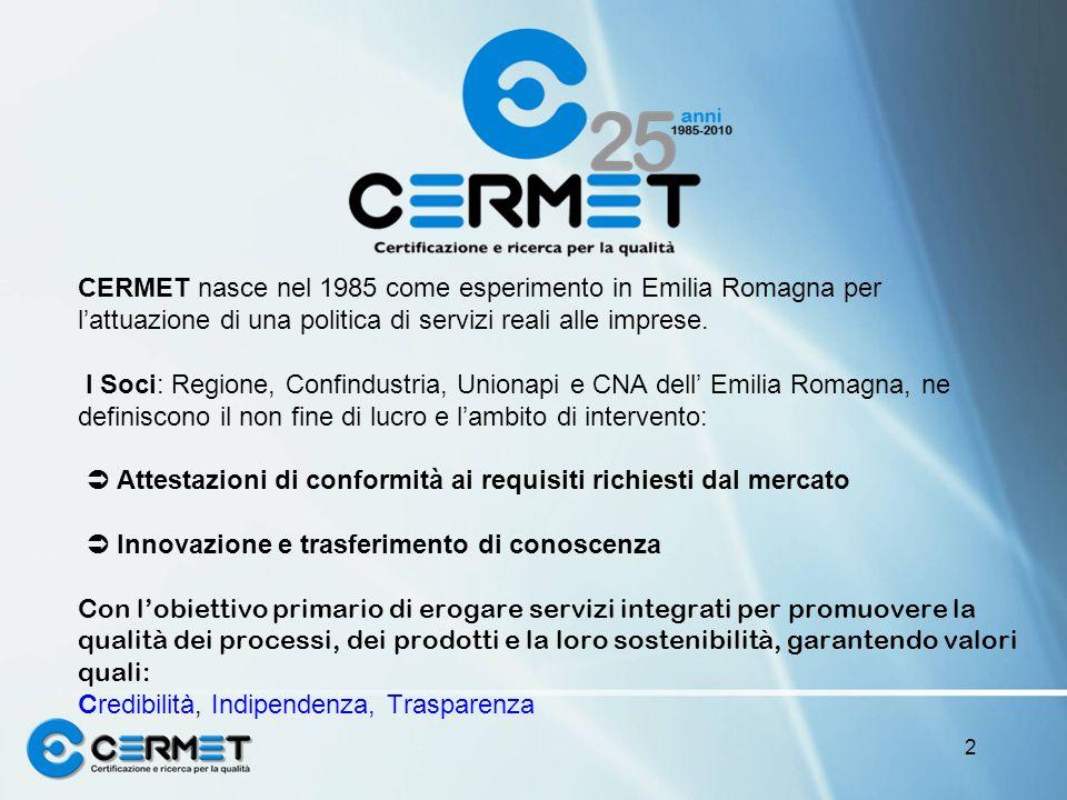 CERMET nasce nel 1985 come esperimento in Emilia Romagna per lattuazione di una politica di servizi reali alle imprese. I Soci: Regione, Confindustria
