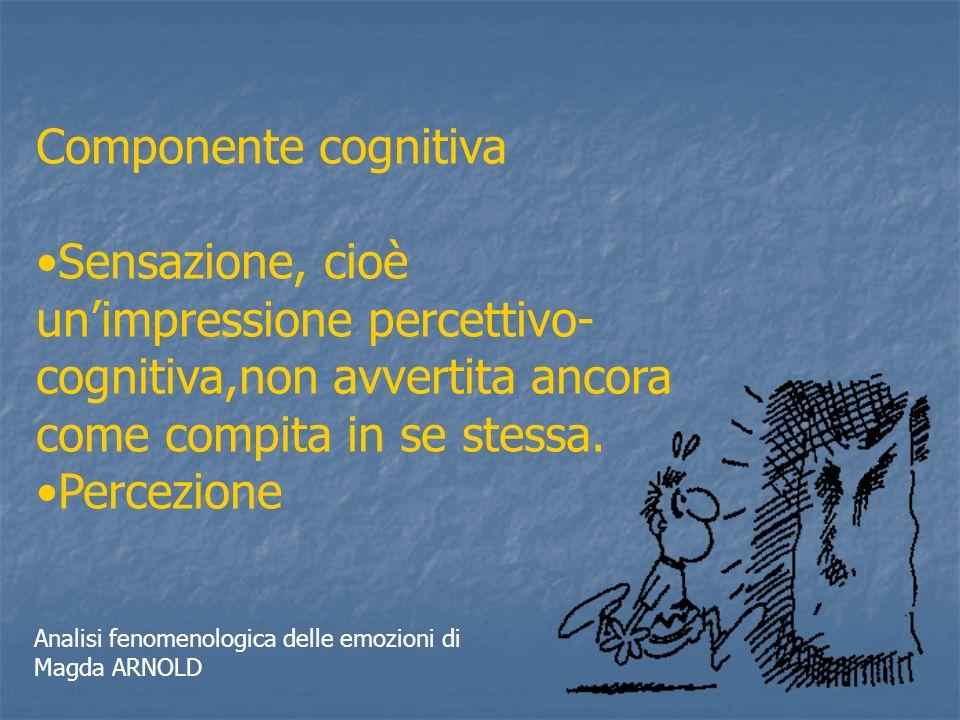 Componente cognitiva Sensazione, cioè unimpressione percettivo- cognitiva,non avvertita ancora come compita in se stessa. Percezione Analisi fenomenol