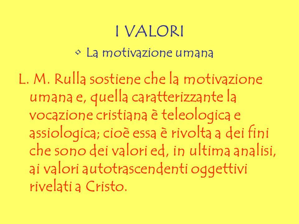 I VALORI La motivazione umana L. M. Rulla sostiene che la motivazione umana e, quella caratterizzante la vocazione cristiana è teleologica e assiologi