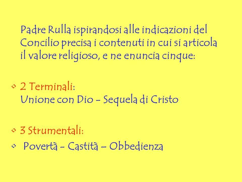Padre Rulla ispirandosi alle indicazioni del Concilio precisa i contenuti in cui si articola il valore religioso, e ne enuncia cinque: 2 Terminali: Un