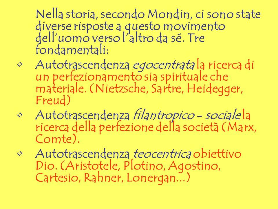 Nella storia, secondo Mondin, ci sono state diverse risposte a questo movimento delluomo verso laltro da sé. Tre fondamentali: Autotrascendenza egocen