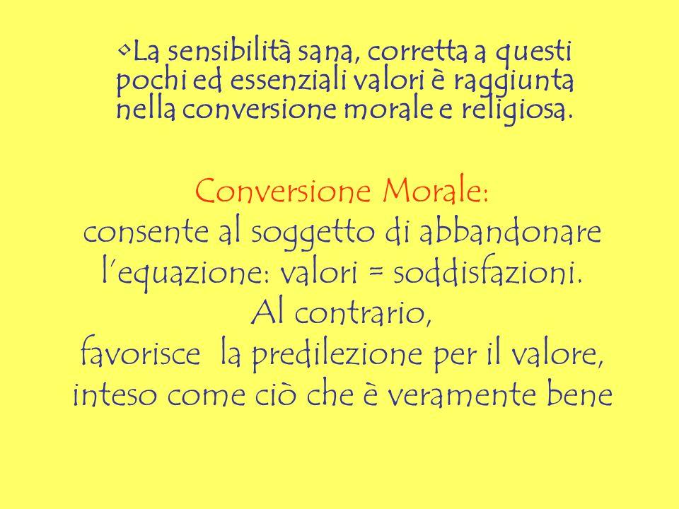 Conversione Morale: consente al soggetto di abbandonare lequazione: valori = soddisfazioni. Al contrario, favorisce la predilezione per il valore, int