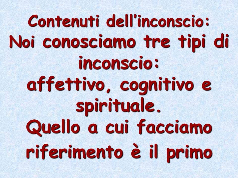 Contenuti dellinconscio: Noi conosciamo tre tipi di inconscio: affettivo, cognitivo e spirituale. Quello a cui facciamo riferimento è il primo