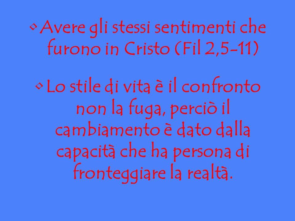 Avere gli stessi sentimenti che furono in Cristo (Fil 2,5-11) Lo stile di vita è il confronto non la fuga, perciò il cambiamento è dato dalla capacità