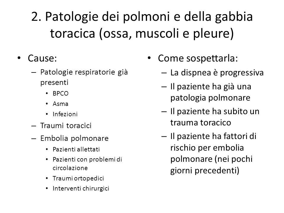 2. Patologie dei polmoni e della gabbia toracica (ossa, muscoli e pleure) Cause: – Patologie respiratorie già presenti BPCO Asma Infezioni – Traumi to