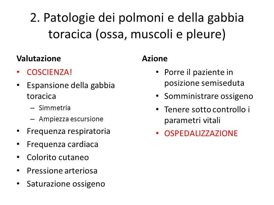 2. Patologie dei polmoni e della gabbia toracica (ossa, muscoli e pleure) Valutazione COSCIENZA! Espansione della gabbia toracica – Simmetria – Ampiez
