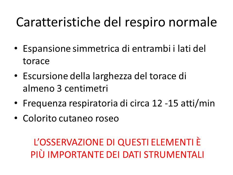 Caratteristiche del respiro normale Espansione simmetrica di entrambi i lati del torace Escursione della larghezza del torace di almeno 3 centimetri F