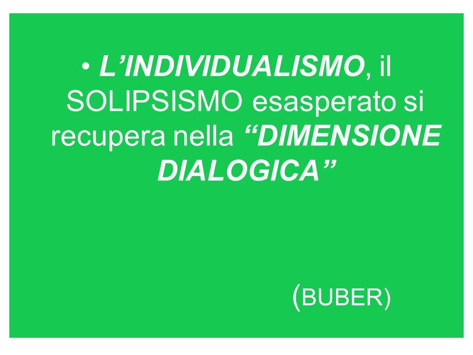 LINDIVIDUALISMO, il SOLIPSISMO esasperato si recupera nella DIMENSIONE DIALOGICA ( BUBER)