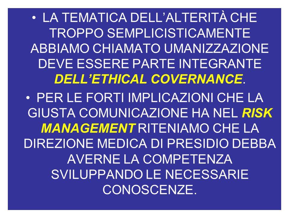 LA TEMATICA DELLALTERITÀ CHE TROPPO SEMPLICISTICAMENTE ABBIAMO CHIAMATO UMANIZZAZIONE DEVE ESSERE PARTE INTEGRANTE DELLETHICAL COVERNANCE.