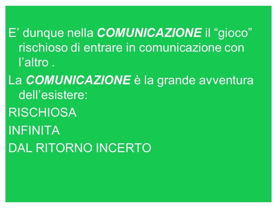 E dunque nella COMUNICAZIONE il gioco rischioso di entrare in comunicazione con laltro.