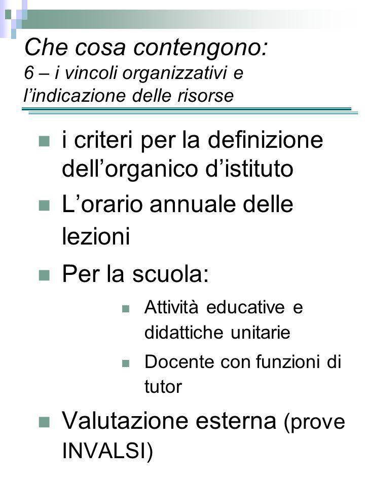 Che cosa contengono: 6 – i vincoli organizzativi e lindicazione delle risorse i criteri per la definizione dellorganico distituto Lorario annuale dell