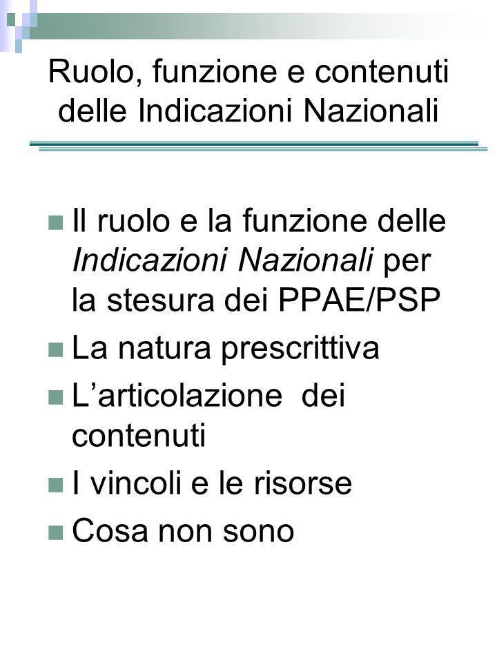 Ruolo, funzione e contenuti delle Indicazioni Nazionali Il ruolo e la funzione delle Indicazioni Nazionali per la stesura dei PPAE/PSP La natura presc