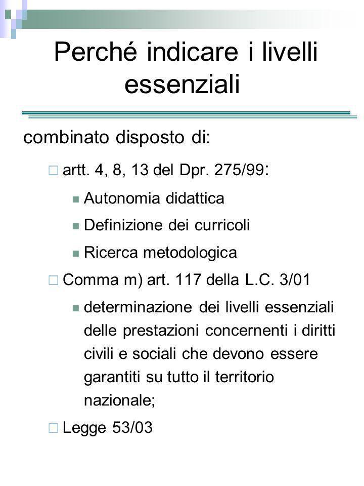Perché indicare i livelli essenziali combinato disposto di: artt. 4, 8, 13 del Dpr. 275/99 : Autonomia didattica Definizione dei curricoli Ricerca met