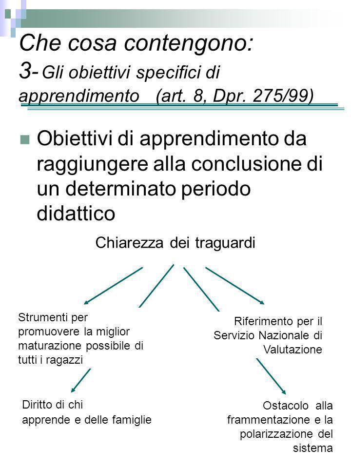 Obiettivi di apprendimento da raggiungere alla conclusione di un determinato periodo didattico Che cosa contengono: 3 - Gli obiettivi specifici di app