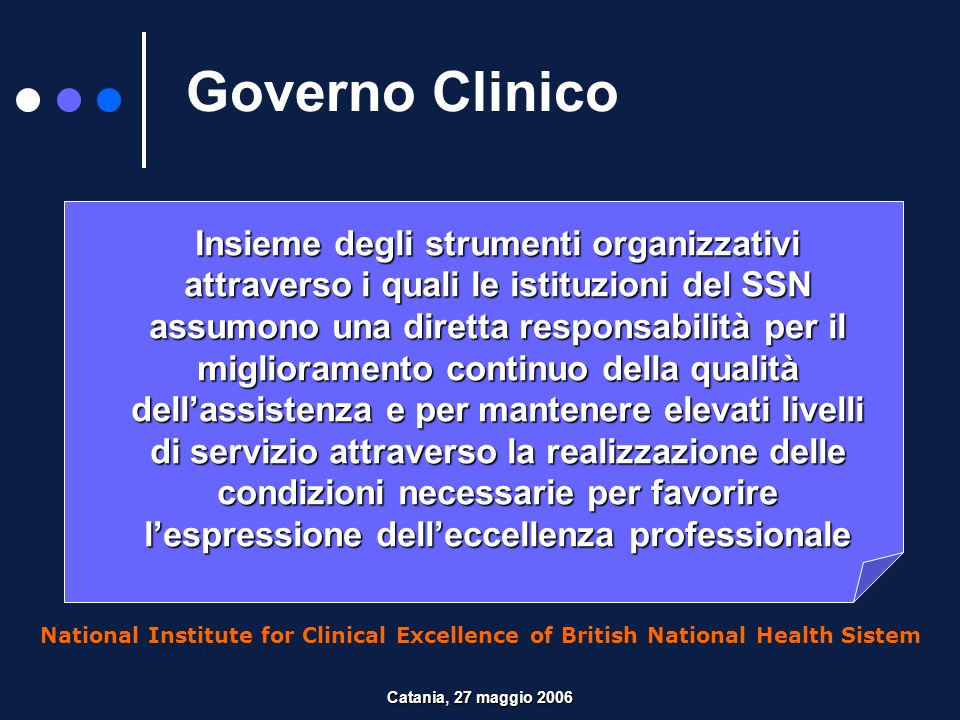 Governo Clinico National Institute for Clinical Excellence of British National Health Sistem Insieme degli strumenti organizzativi attraverso i quali