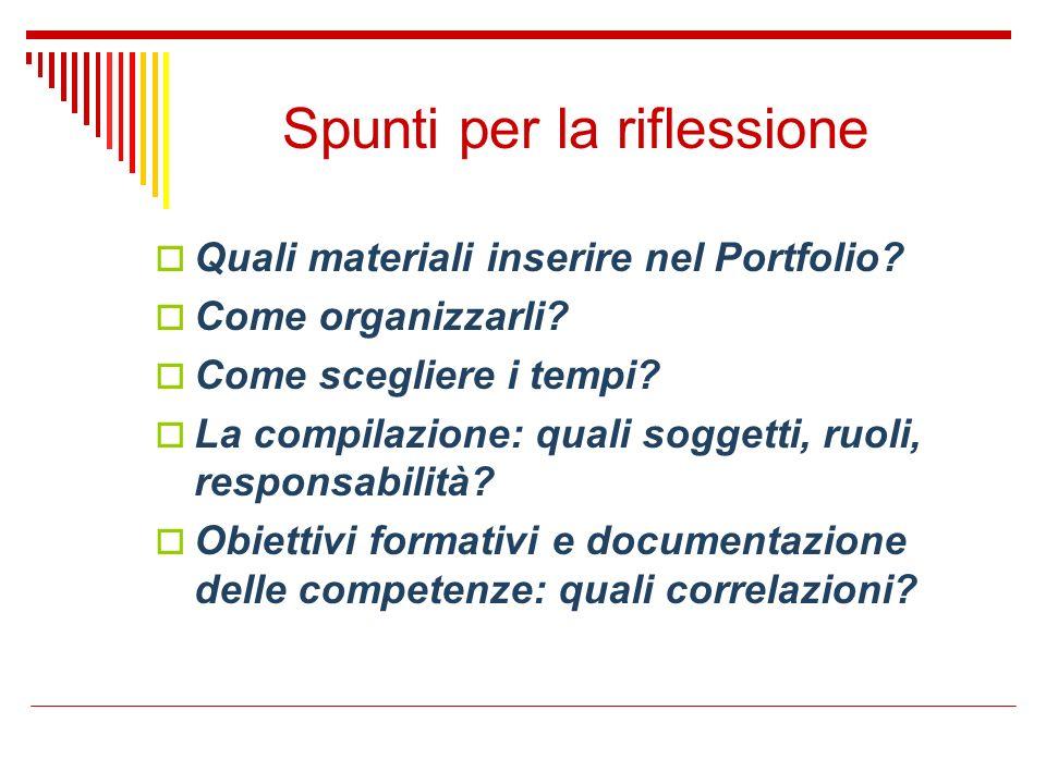 Spunti per la riflessione Quali materiali inserire nel Portfolio? Come organizzarli? Come scegliere i tempi? La compilazione: quali soggetti, ruoli, r