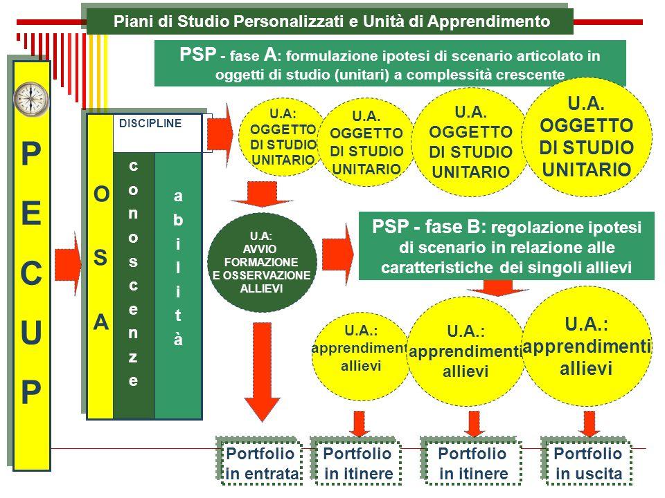 Piani di Studio Personalizzati e Unità di Apprendimento PECUPPECUP PECUPPECUP abilitàabilità conoscenzeconoscenze DISCIPLINE OSAOSA OSAOSA U.A: OGGETT