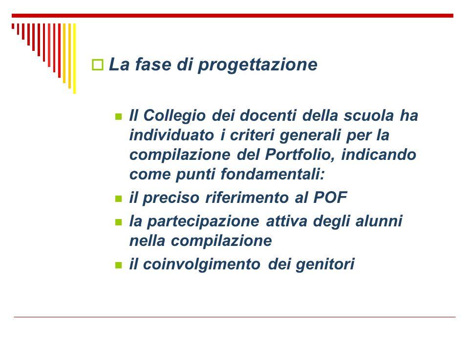 La fase di progettazione Il Collegio dei docenti della scuola ha individuato i criteri generali per la compilazione del Portfolio, indicando come punt