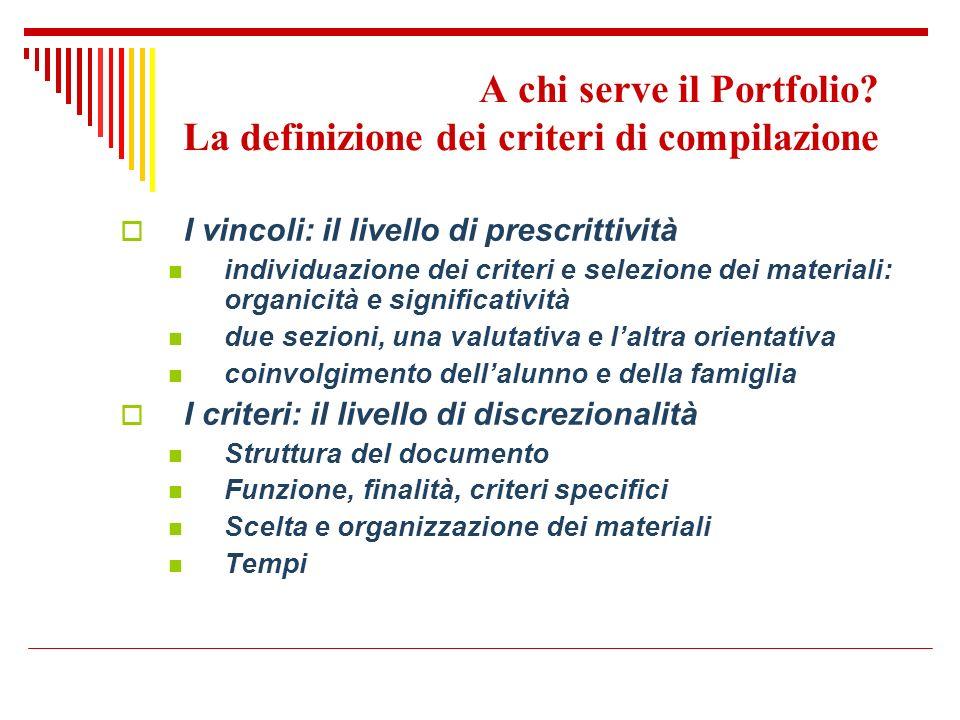 A chi serve il Portfolio? La definizione dei criteri di compilazione I vincoli: il livello di prescrittività individuazione dei criteri e selezione de